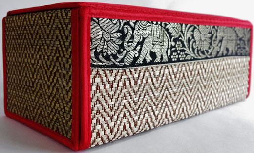 タイシルク(絹) ティッシュボックスケース レッド 赤 商品写真02 [タイ雑貨 アジアン雑貨 インテリア タイ旅行おみやげ]