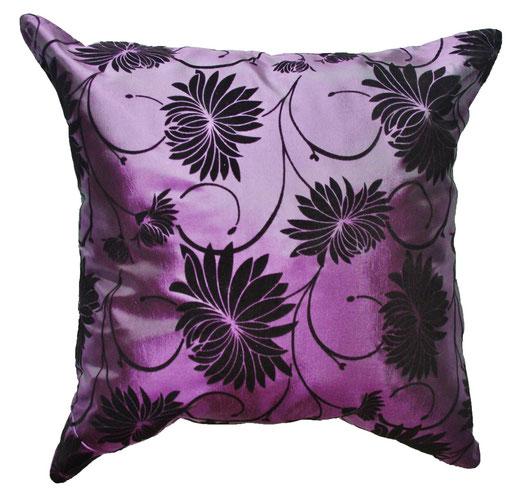 タイシルク クッションカバー  ロータス デザイン パープル 【Lotus Design , Purple】 45×45cm 対応 01