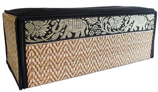 タイシルク アジアン ティッシュ ボックス ケース ブラック 【Elephant design, Black】の商品画像02