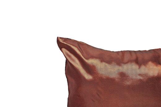 タイシルク クッションカバー  バンコク リーフ デザイン  ブロンズ   【Bangkok Leaf Design , Bronze】 45×45cm 対応 05