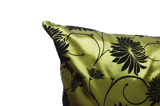 タイシルク クッションカバー  ロータス デザイン グリーン 【Lotus Design , Green】 45×45cm 対応 03