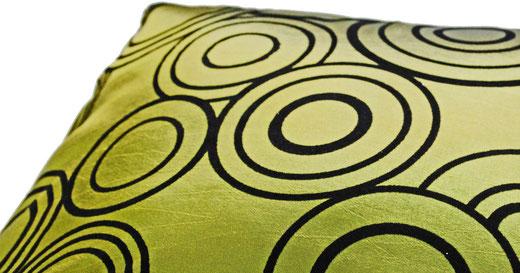 タイシルク クッションカバー  リングデザイン グリーン 【Ring Design , Green】 45×45cm 対応の商品写真03