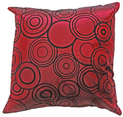 タイシルク クッションカバー  リングデザイン ワインレッド 【Ring Design , Wine Red】 45×45cm 対応の商品写真01