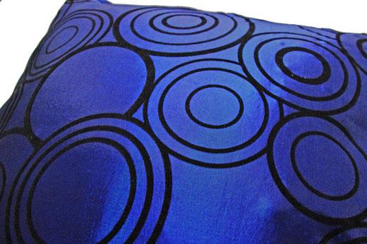 タイシルク クッションカバー  リングデザイン ブルー 【Ring Design , Blue】 45×45cm 対応の商品写真03