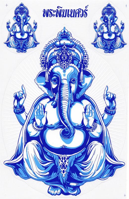 ガネーシャ ステッカー (GANEZA Sticker  Blue type) L サイズ (ブルー タイプ)  1枚 【Thailand Sticker】の商品画像01