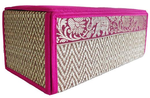 タイシルク アジアン ティッシュ ボックス ケース パッションピンク 【Elephant design, Passion Pink】の商品画像02