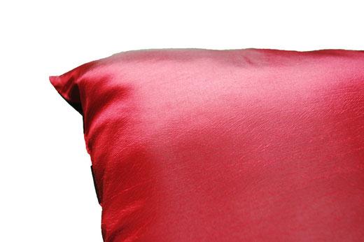 タイシルク クッションカバー  チェッカーデザイン ワインレッド 【Checker Design , Wine Red】 45×45cm 対応の商品写真06