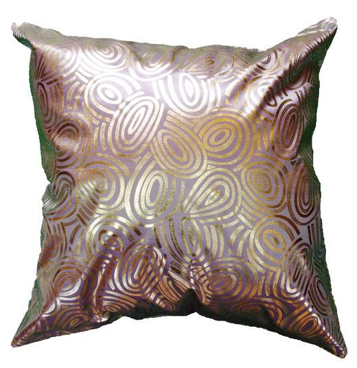 タイシルク クッションカバー  ゴールドリング デザイン シルバー 【Gold Ring Design , Silver】 45×45cm 対応の商品写真01