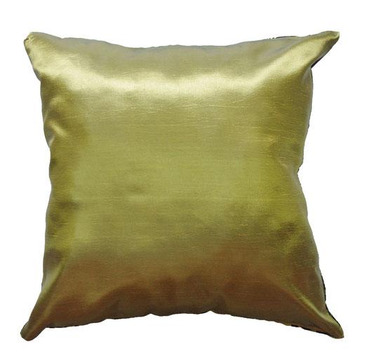 タイシルク クッションカバー  ロータス デザイン グリーン 【Lotus Design , Green】 45×45cm 対応 04