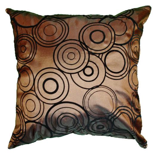 タイシルク クッションカバー  リングデザイン ブラウン 【Ring Design , Brown】 45×45cm 対応の商品写真01