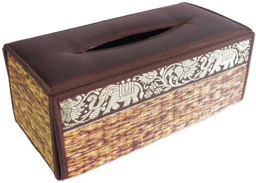 タイシルク アジアン ティッシュ ボックス ケース ブラウン 【Elephant design, Brown】の商品画像01