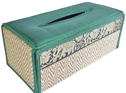 タイシルク ティッシュボックスケース エメラルドグリーンの商品画像01