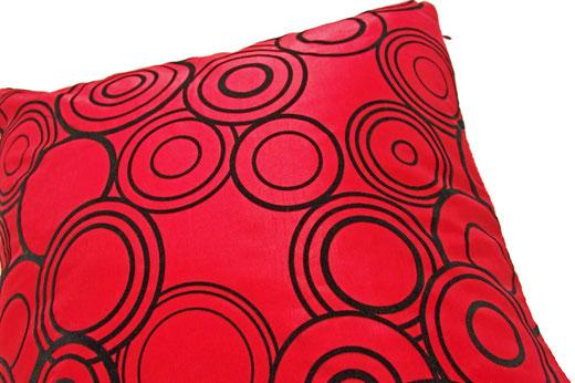 タイシルク クッションカバー  リングデザイン レッド 【Ring Design , Red】 45×45cm 対応の商品写真03