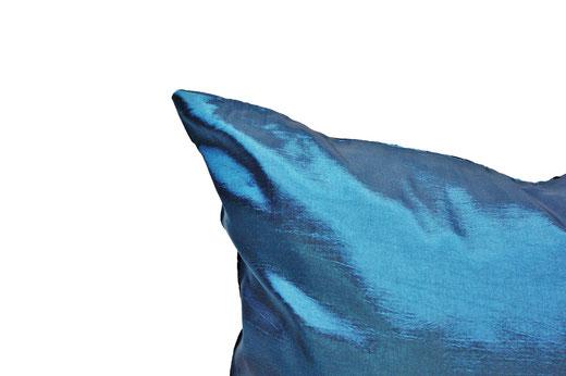 タイシルク クッションカバー  ロータス デザイン ターコイズ ブルー 【Lotus Design , Turquoise Blue】 45×45cm 対応 05