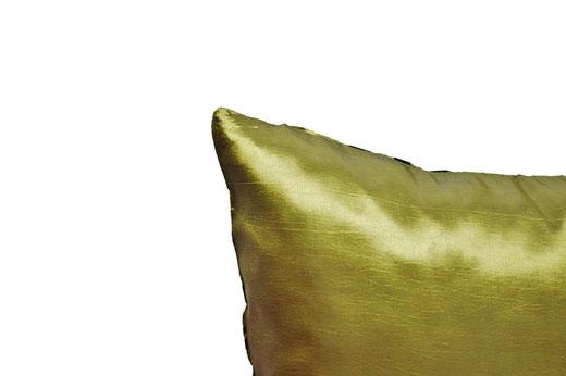 タイシルク クッションカバー  バンコク リーフ デザイン  グリーン   【Bangkok Leaf Design , Green】 45×45cm 対応 05