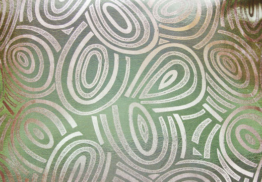 タイシルク クッションカバー  ゴールドリング デザイン グリーン 【Gold Ring Design , Green】 45×45cm 対応の商品画像02