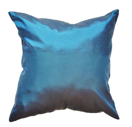 タイシルク クッションカバー  ロータス デザイン ターコイズ ブルー 【Lotus Design , Turquoise Blue】 45×45cm 対応 04