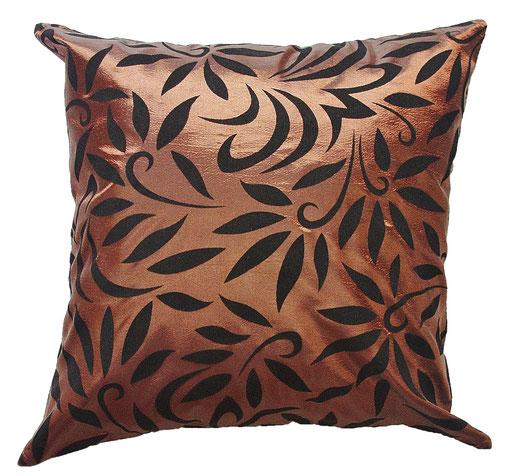 タイシルク クッションカバー  バンコク リーフ デザイン  ブラウン   【Bangkok Leaf Design , Brown】 45×45cm 対応 01