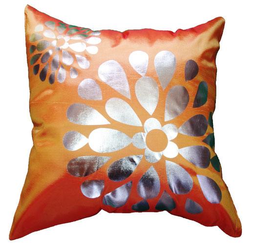 タイシルク クッションカバー  フラワー デザイン オレンジ 【Flower Design , Orange】 45×45cm 対応の商品画像01