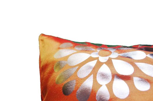 タイシルク クッションカバー  フラワー デザイン オレンジ 【Flower Design , Orange】 45×45cm 対応の商品画像03