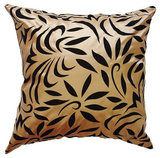タイシルク クッションカバー  バンコク リーフ デザイン  ゴールド   【Bangkok Leaf Design , Gold】 45×45cm 対応 01