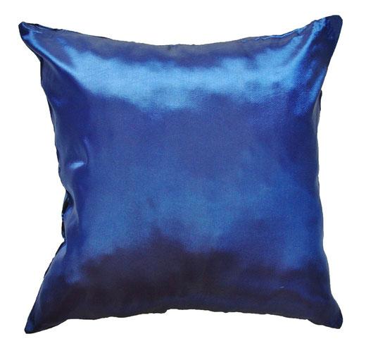 タイシルク クッションカバー  バンコク リーフ デザイン  ブルー   【Bangkok Leaf Design , Blue】 45×45cm 対応 04