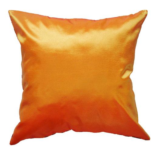 タイシルク クッションカバー  バンコク リーフ デザイン  オレンジ   【Bangkok Leaf Design , Orange】 45×45cm 対応 04