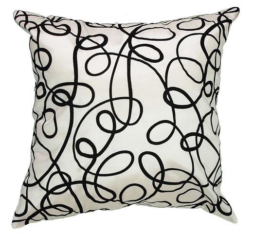 タイシルク クッションカバー  インフィニティ デザイン ホワイト 【Infinity Design , White】 の商品画像01