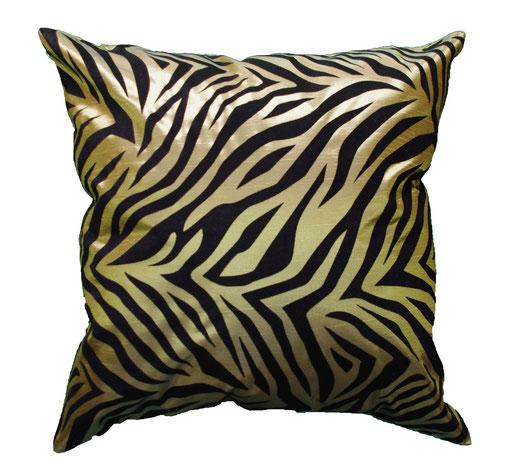 タイシルク クッションカバー  ゼブラ デザイン グリーン 【Zebra Design , Green】 45×45cm 対応の商品画像01
