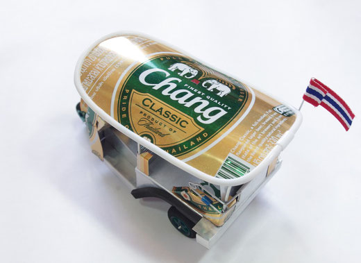 ハンドメイド トゥクトゥク (TUK TUK) チャーンビール(ビアチャン) Chang Beer の商品写真05 [タイ雑貨 アジアン雑貨 タイ旅行おみやげ]