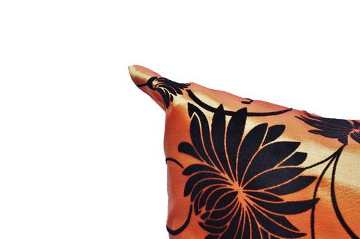 タイシルク クッションカバー  ロータス デザイン オレンジ 【Lotus Design , Orange】 45×45cm 対応 03