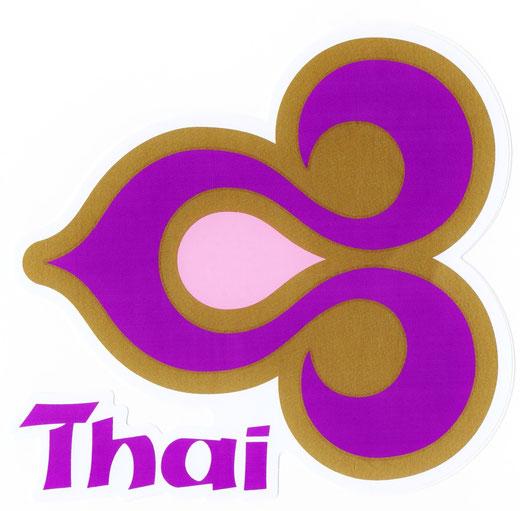 タイ航空 ステッカー(THAILAND AIR WAYS Sticker Purple & Gold) left side type L サイズ (パープル &ゴールド)  1枚 【Thailand Sticker】の商品画像01