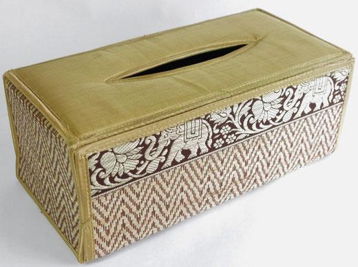 タイシルク(絹) ティッシュボックスケース  ゴールド 金色 商品写真01 [タイ雑貨 アジアン雑貨 インテリア タイ旅行おみやげ]