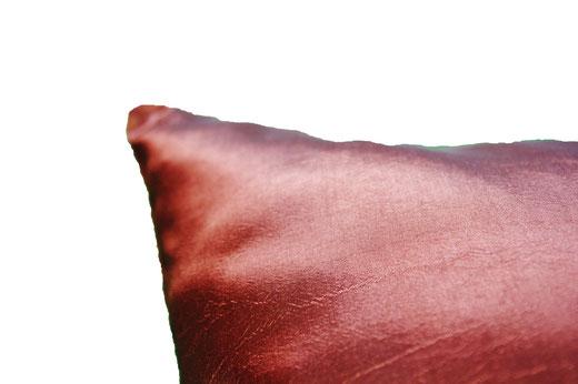 タイシルク クッションカバー  フラワー デザイン ブラウン 【Flower Design , Brown】 45×45cm 対応の商品画像07