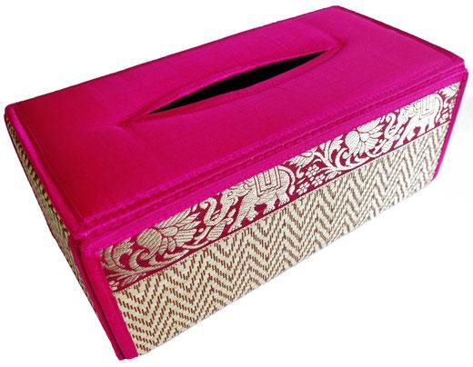 タイシルク アジアン ティッシュ ボックス ケース パッションピンク 【Elephant design, Passion Pink】の商品画像01