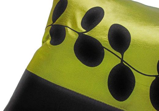 タイシルク クッションカバー  リーフ デザイン グリーン 【Leaf Design , Green】 45×45cm 対応の商品写真03