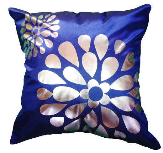 タイシルク クッションカバー  フラワー デザイン ブルー 【Flower Design , Blue】 45×45cm 対応の商品画像01
