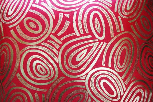 タイシルク クッションカバー  ゴールドリング デザイン レッド 【Gold Ring Design , Red】 45×45cm 対応の商品画像02