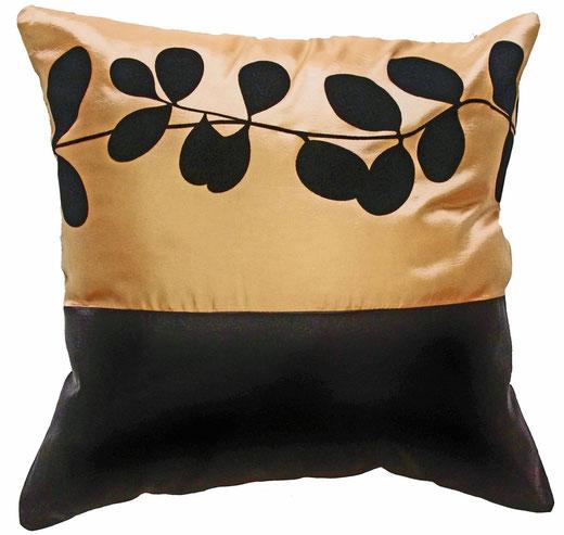 タイシルク クッションカバー  リーフ デザイン ゴールド 【Leaf Design , Gold】 45×45cm 対応の商品写真01