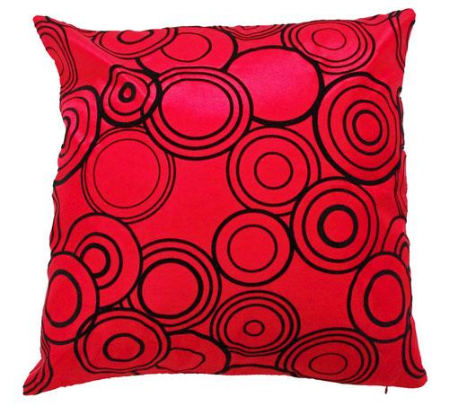 タイシルク クッションカバー  リングデザイン レッド 【Ring Design , Red】 45×45cm 対応の商品写真01