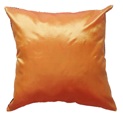 タイシルク クッションカバー  ロータス デザイン オレンジ 【Lotus Design , Orange】 45×45cm 対応 04