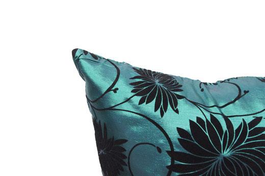 タイシルク クッションカバー  ロータス デザイン エメラルド グリーン 【Lotus Design , Emerald Green】 45×45cm 対応 03