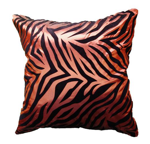 タイシルク クッションカバー  ゼブラ デザイン ブラウン 【Zebra Design , Brown】 45×45cm 対応の商品画像01