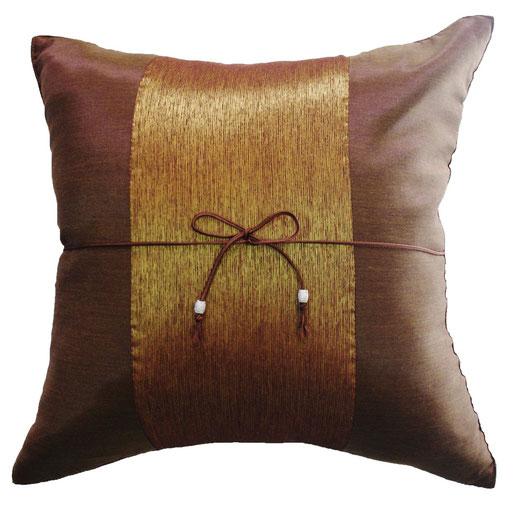 タイランド クッションカバー チェンマイ デザイン  ライトブラウン × ゴールド 【Chiang Mai Design , Light Brown × Gold】 40×40cm の商品画像01