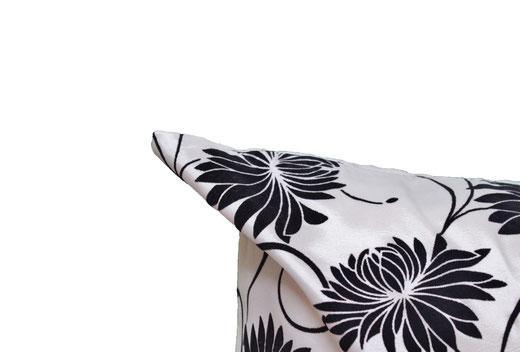 タイシルク クッションカバー  ロータス デザイン ホワイト 【Lotus Design , White】 45×45cm 対応 03