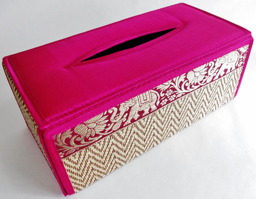 タイシルク(絹) ティッシュボックスケース ピンク 桃色 商品写真01 [タイ雑貨 アジアン雑貨 インテリア タイ旅行おみやげ]