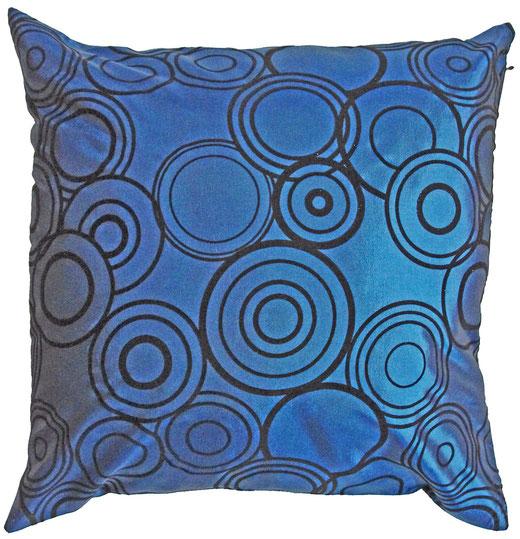 タイシルク クッションカバー  リングデザイン ターコイズブルー 【Ring Design , Turquoise Blue】 45×45cm 対応の商品写真