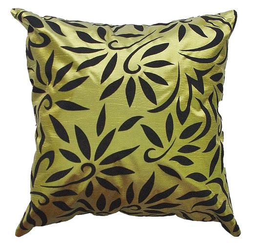 タイシルク クッションカバー  バンコク リーフ デザイン  グリーン   【Bangkok Leaf Design , Green】 45×45cm 対応 01