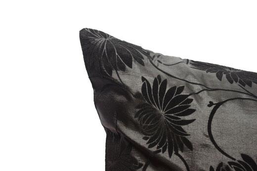 タイシルク クッションカバー  ロータス デザイン ブラック 【Lotus Design , Black】 45×45cm 対応 03
