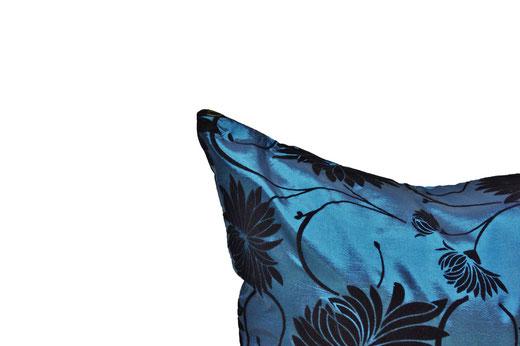 タイシルク クッションカバー  ロータス デザイン ターコイズ ブルー 【Lotus Design , Turquoise Blue】 45×45cm 対応 03